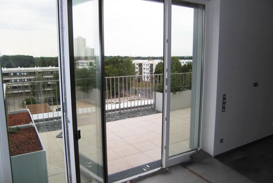 Blick aus dem Penthouse durch Dreifach Verglasung