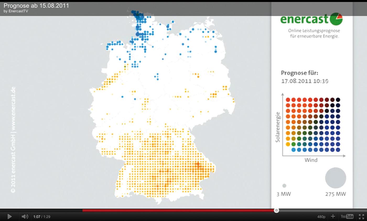 Das Online Prognosesystem der Firma enercast GmbH unterstützt Netzbetreiber mit Regelprognosen für Windkraft und Photovoltaikanlagen. (© enercast)