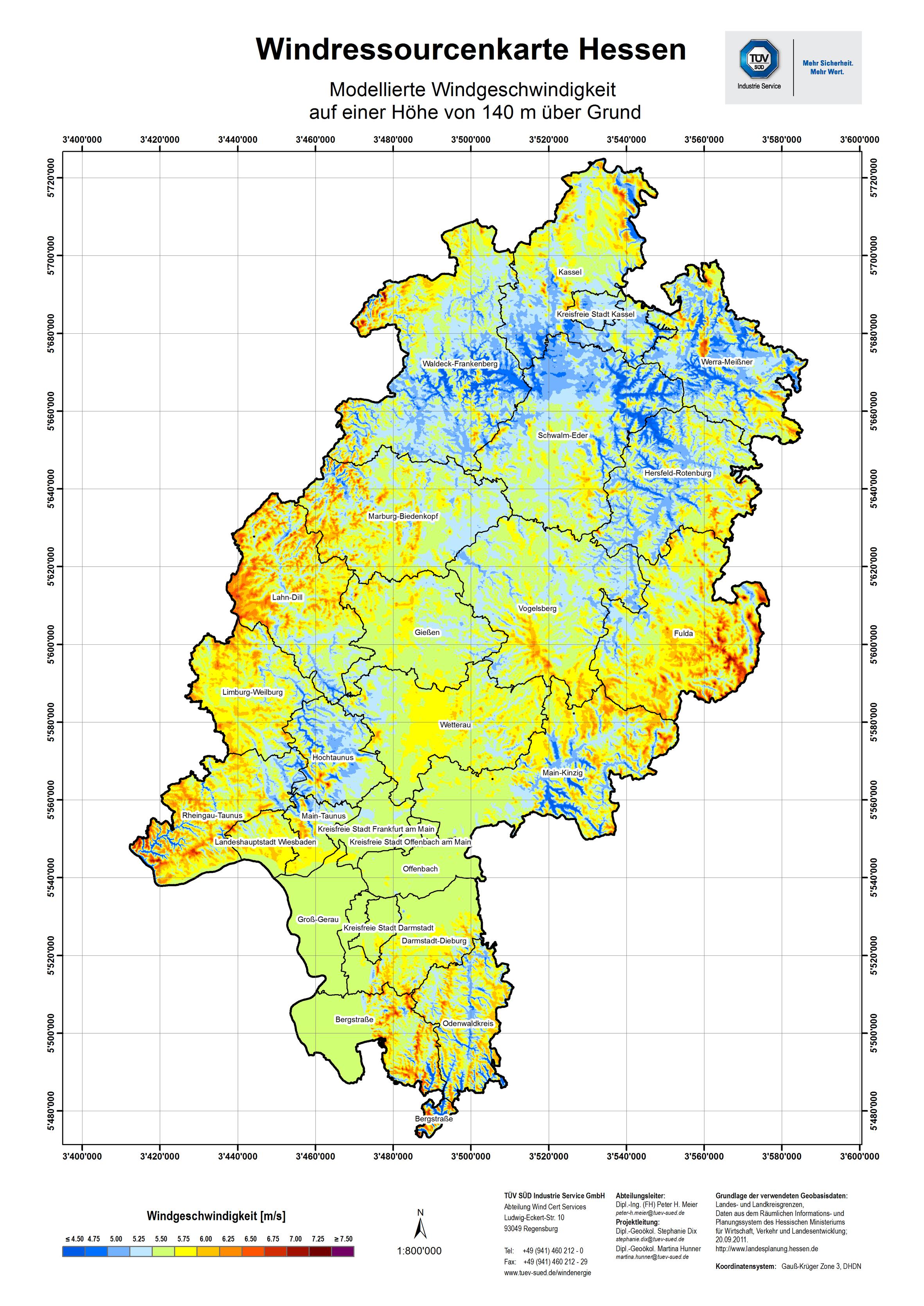 Windpotentialkarte Hessen