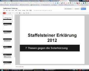 Google-Docs Präsentation zur Staffelsteiner Erklärung