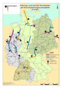 Stand der vordringlichen Stromtrassen gemäß Energieleitungsausbaugesetz (EnLAG), Quelle: BUndesnetzagentur