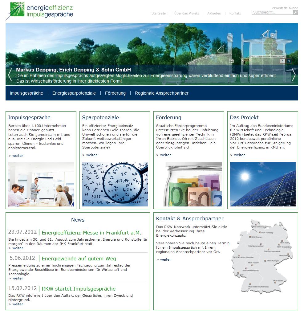 Screenshot der neuen Plattform RKW Impulsgespräche Energieeffizienz