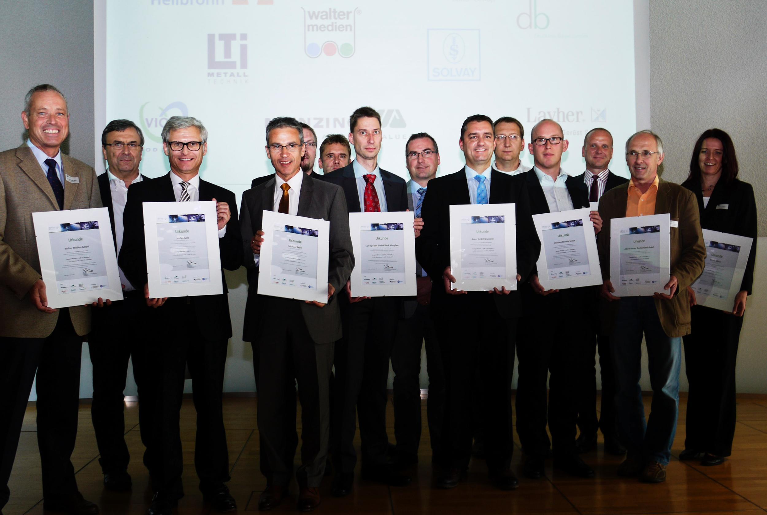 Zwölf Unternehmen aus der Region wurden von Bundesumweltminister Peter Altmaier für erfolgreiche Netzwerkarbeit im Rahmen des EnergieEffizienz-Tisches Heilbronn-Franken geehrt, Quelle: IHK Heilbronn-Franken