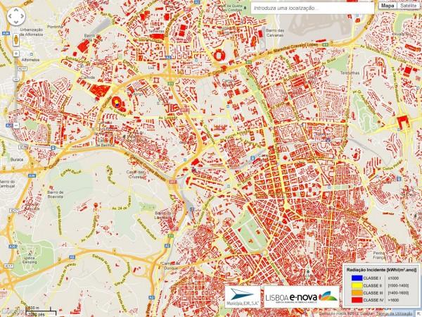 Karte des Potentials zur Nutzung der Solarenergie in Lissabon, Quelle: Ecofys