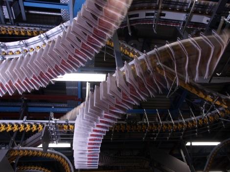 Fördertechnik in einer Druckerei