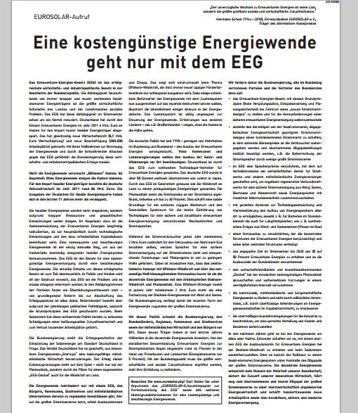 Eurosolar Anzeige