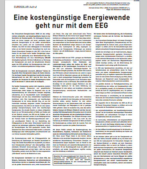 Eurosolar startet Anzeigen-Kampagne als Werbung für EEG