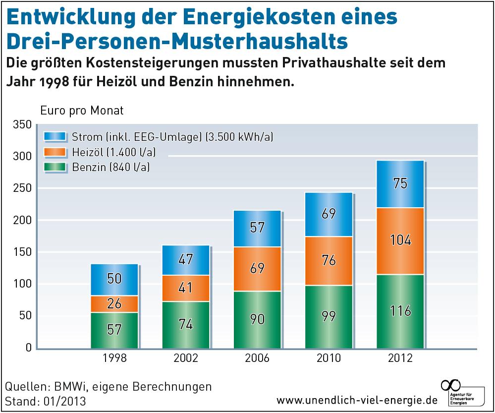 AEE Entwicklung Energiekosten Musterhaushalt 98 12 jan13