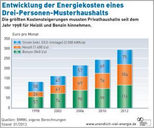 Entwicklung der Energiekosten in einem Musterhaushalt, Quelle: AEE