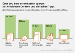 Stromkosten sparen mit effizienten Haushaltsgeräten, Grafik: Initiative EnergieEffizienz / dena