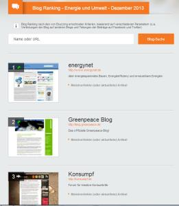 Screenshot des ebuzzing Ranking für Energie- und Umwelt-Blogs im Dezember 2013