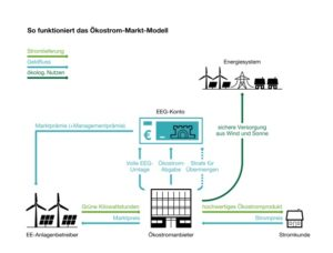 Modell für Direktvermarktung von Ökostrom vom Erzeuger bis zum Verbraucher