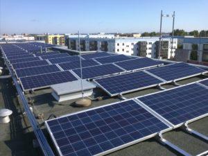 Detail des Solardachs in Berlin Hellersdorf, Foto: STADT UND LAND Wohnbauten-Gesellschaft mbH