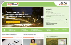 Screenshot der Initiative Energieeffizienz