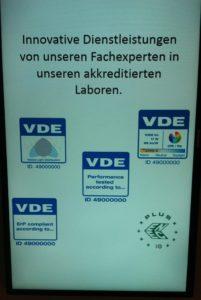 Prüfsiegel des VDE für die Beleuchtung, Foto: Andreas Kühl