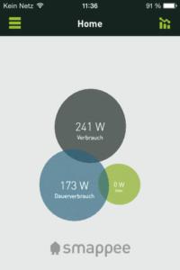 Startbildschirm des Smappee Energiemanagers