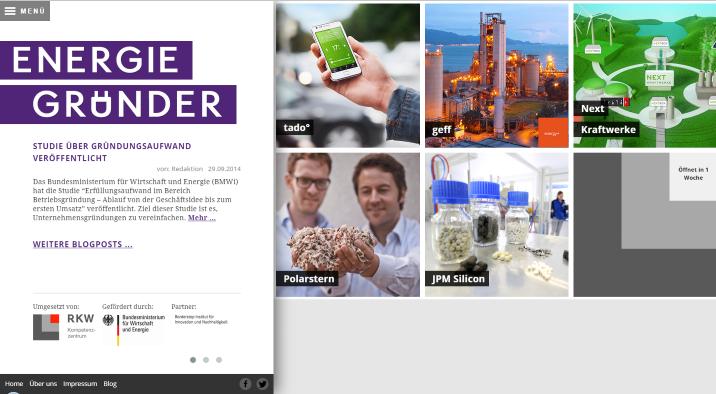 Screenshot der Seite Energiegründer