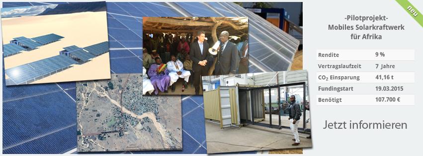 Crowdfunding für mobiles Solarkraftwerk zur Stromversorgung in Afrika