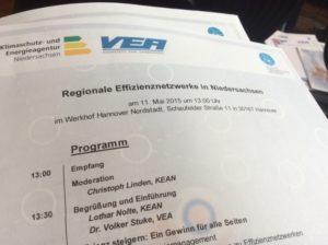 Auszug aus dem Programm der VEA Veranstaltung zu Regionalen Energieeffizienz-Netzwerken