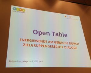 Open-Table bei den Berliner Energietagen 2015, Foto: Andreas Kühl