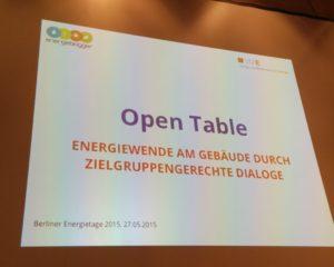 Open-Table bei den Berliner Energietagen 2015, Foto: Andreas Kühl