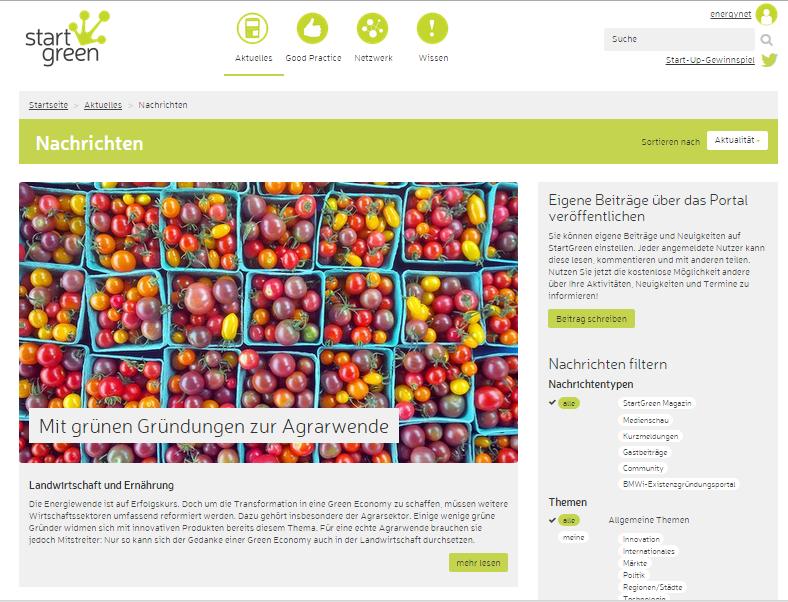 StartGreen – ein neues Portal und Netzwerk für grüne Gründer