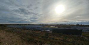 Blick vom Speicher auf die Solarkollektoren in Vojens