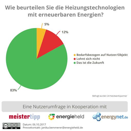 Handwerker beurteilen Heizungstechnologien mit erneuerbaren Energien